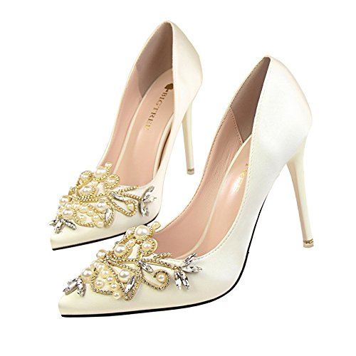 GAOLIM Zapatos De Mujer Primavera De Damasco Agua Punta Tacón Alto De Perforación Rojo Zapatos De Boda Multa Con Luz-Pearl Solo Zapatos Femeninos Zapatos Banquete Nupcial Blanco