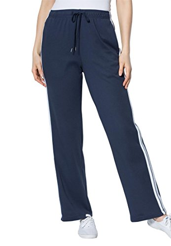 Women's Plus Size Side Stripe Sport Knit Pants Navy White Heather (Sport Knit Pants)
