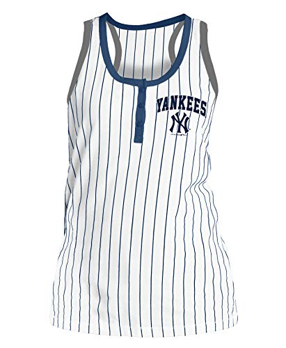 New York Yankees Women's Triple Crown Pinstripe Racerback Tank Top X-Large - New York Womens Tank Top
