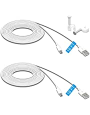 2 Pack 16.4FT/5Meter Power Extension Cable for Wyze Cam Pan/for WyzeCam/for Kasa Cam/for YI Dome Home Camera/for Furbo Dog/for Nest Cam/for Blink/for Amazon Cloud Camera,USB to Micro USB Durable Charging and Data Sync Cord (White)