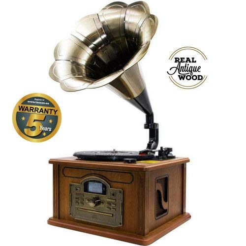 Lauson CL747 Gramófono Retro Bluetooth Función Encoding, Tocadiscos Vintage Trompeta de Madera con Altavoces Incorporados, Radio, CD, USB, MP3