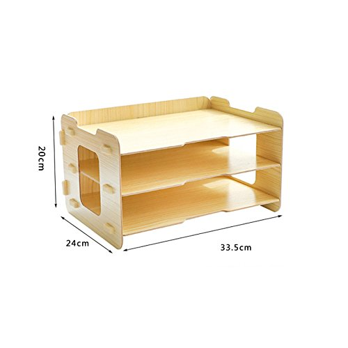 Bookcase Simple Three-Layer Desktop Racks Office Documents Debris Storage Organizer Multi-Purpose Storage Box,WoodColor by ANHPI-bookcase (Image #1)
