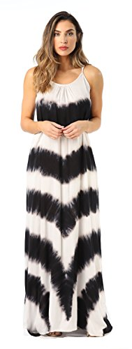 Riviera Sun 21772-BLK-2X Summer Dresses Maxi Dress Sundresses for Women Black/White