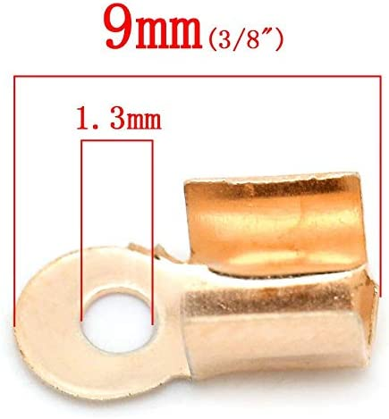 90 PCs x 4mm 1//8 3//8 BIG-DEAL Findings/_Alloy Necklace Cord End Tips Rectangle Rose Gold 9mm
