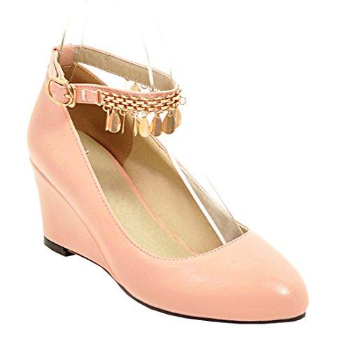 YE Damen Spitze High Heels Pumps mit Keilabsatz und Riemchen Schnalle Bequem Schuhe Rosa