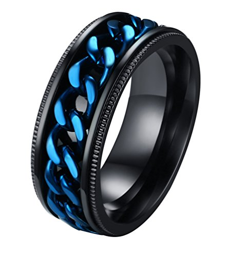 ALEXTINA Men's Stainless Steel 8MM Blue Chain Rings Stress Relief Spinner Ring Size ()
