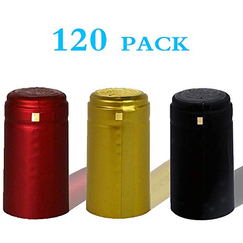 BGMAXimum PVC heat shrink capsules 120 count 3 colors wine shrink wrap wine bottle corks capsules for professional, wine cellars and home use - black, red, gold (Wrapper Heat Seal)