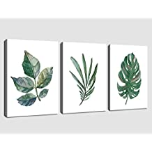 "arteWOODS Canvas Art Simple Life Green Leaf Painting Wall Art Decor 12"" x 16"" 3 Pieces Framed Canvas Prints Watercolor Giclee with Black Border Ready to Hang for Home Decoration"