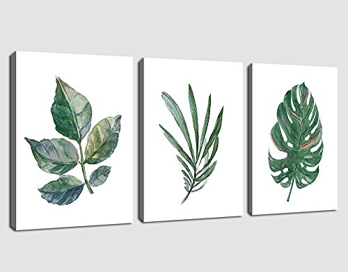 arteWOODS Canvas Art Simple Life Green Leaf Painting Wall Art Decor 12'' x 16'' 3 Pieces Framed Canvas Prints Watercolor Giclee with Black Border Ready to Hang for Home Decoration by arteWOODS