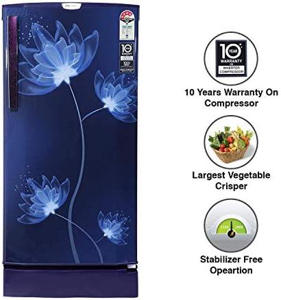 (Renewed) Godrej 190 L 4 Star Inverter Direct-Cool Single Door Refrigerator (RD 1904 PTDI 43 GL BL, Glass Blue)