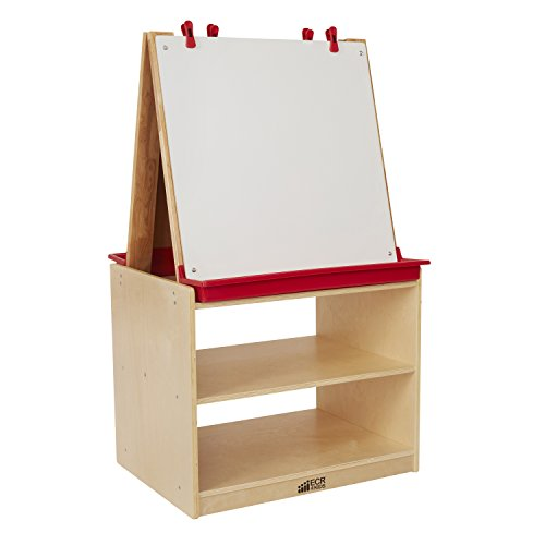 2 Station Art Easel (ECR4Kids Double-Sided Birch Hardwood Art Easel Dry-Erase Board with Storage (2-Station))