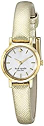 kate spade new york Women's 1YRU0455 Tiny Gold-Tone Stainless Steel Watch with Textured Leather Band