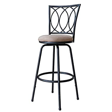Roundhill Furniture Redico Adjustable Metal Barstool, Powder Coated Black