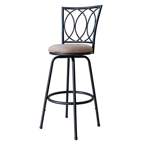 Roundhill Furniture Redico Adjustable Metal Barstool, Powder Coated Black ()
