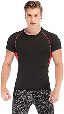 SKYSPER Camiseta Deportiva Hombre de Manga Corta Camiseta de Compresión para Hombre Ropa Interior Apretado Deportes Transpirable Secado Rápido para ...
