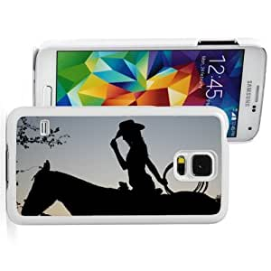Samsung Galaxy S5 Hard Back Case Cover Color Cowgirl on Horse (White)