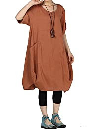 Mordenmiss Women's Summer Roll-up Sleeve Baggy Dress with Pockets