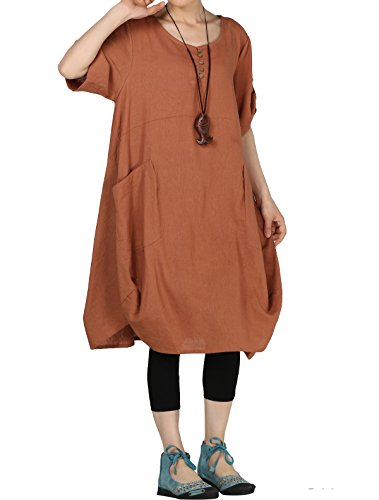(Mordenmiss Women's Cotton Linen Dresses Summer Roll-up Sleeve Baggy Sundress with Pockets 2XL Brown)