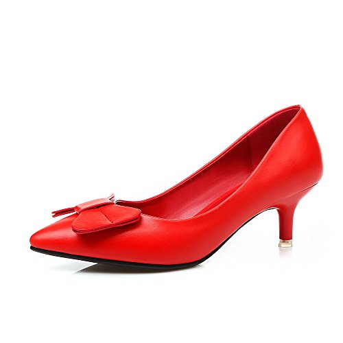 PU Solid Red Heels Kitten Shoes Pull mujer VogueZone009 Punta estrecha para On Pumps 6z7xxwqE