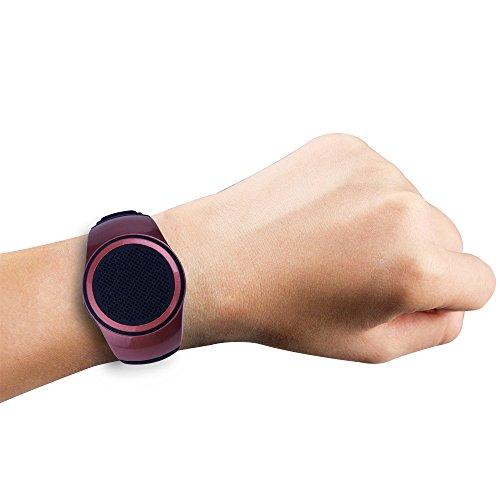SUERSUN Speaker Watch, Wearable Speaker Mini Multifunctional Bluetooth Sports Speaker, TF Card MP3 Music Player, FM Radio, Handsfree, Selfie, Red Photo #2