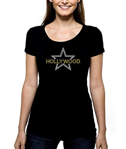 Hollywood RHINESTONE T-Shirt Shirt Tee Bling - Pick Rhinestone Colors - Star California Stars Awards Shows Movies Films - Pick Shirt Style - Scoop Neck V-Neck Crew -