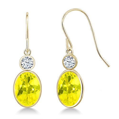 Gem Stone King 3.42 Ct Oval Canary Mystic Topaz 14K Yellow Gold Earrings