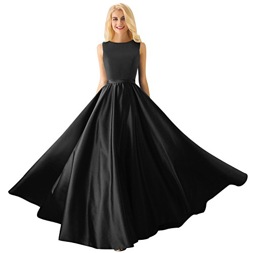Huifany Women's Scoop Neck Sleeveless Floor-Length Long A-Line Couture Evening Dresses Black,US2