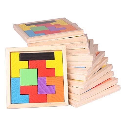 JSGJZY Game 9 PCS Tetris Blocks Puzzle Board Game Children Best Gift Wooden Funny Game