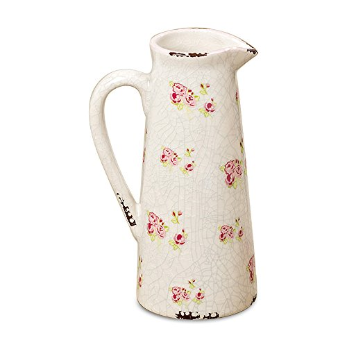 WHW Whole House Worlds Wild Sweetheart Rose Garden Pitcher, Distressed, Vintage Style, Rustic White with Pink and Green Accents Over Terracotta, 7 3/4 Inches Tall, Shabby ()