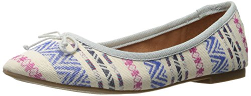 Rampage Women's Balley Almond Closed Toe Ballet with Bow and Memory Foam Insole Flat, Natural Pale Denim, 8 M - Balley Fashion