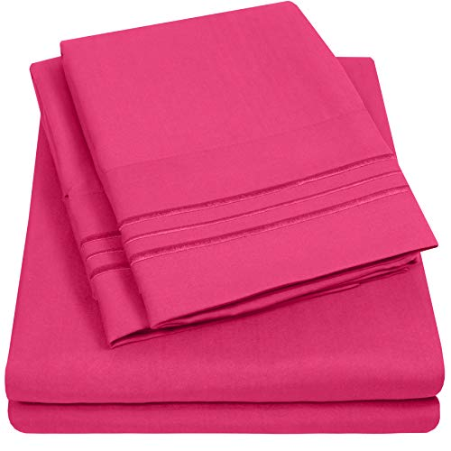 1500 Supreme Collection Extra Soft Full Sheet Set, Fuscia- Luxury Bed Sheet Set with Deep Pocket Wrinkle Free Hypoallergenic Bed Sheets, Full Size, Fuscia