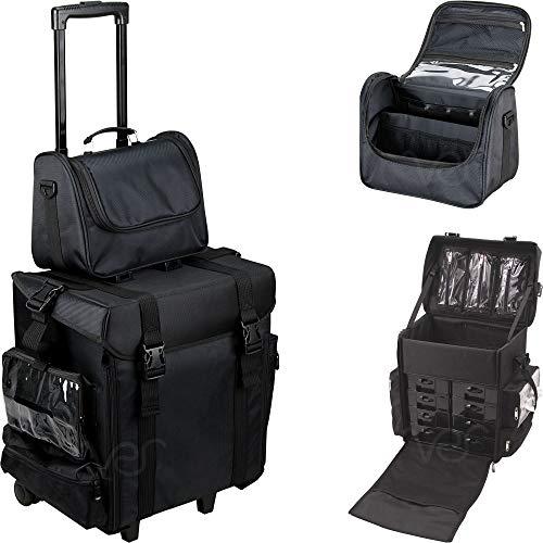 - Ver Beauty DT5471NLAB 2-in-1 Soft Sided Rolling Trolley Nylon Storage Art Craft Tool Case Organizer Travel Mirror - T5471 Black