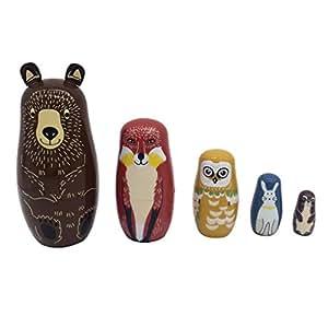 Prettyia 5 PCS Painted Bears Wooden Russian Nesting Dolls Handmade Babushka Matryoshka Toys Kids Gift