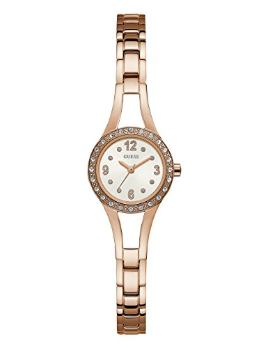 (GUESS Women's Stainless Steel Petite Crystal Watch, Color: Rose Gold-Tone (Model: U1034L4))