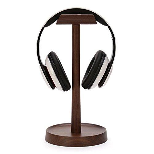 Estante de madera Estante de almacenamiento de los auriculares Soporte de la pantalla vertical Percha de los auriculares...