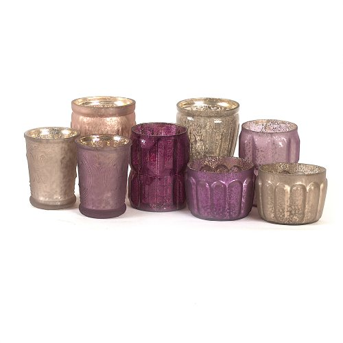 Plum Glass - Creative Co-Op Mercury Glass Votive Holder Set, Pink and Plums