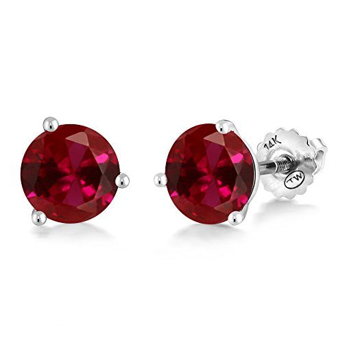 Gem Stone King 2.00 Ct Round 6mm Red Created Ruby 14K White Gold Martini Setting Stud Earrings