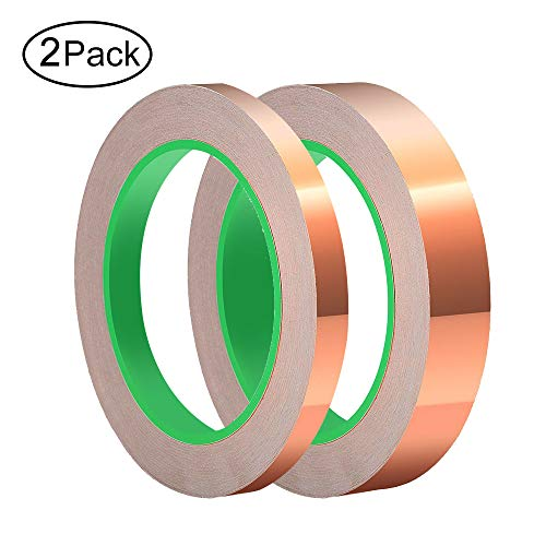 (Copper Foil Tape With Conductive Adhesive For Stained Glass, Guitar, Electrical Repairs, EMI Shielding, Grounding, Soldering And Craft Jewelry Making (6mm,10mm))