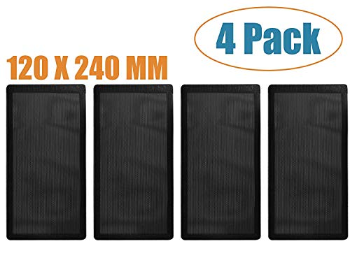 120mm x 2 Magnetic Frame Dust Filter, Computer Dust Filter and PC Computer Case Fan Dust Filter Screen Dustproof Case Cover with Magnet, Ultra Fine PVC Mesh Set of 4 (Computer Screen Vent)
