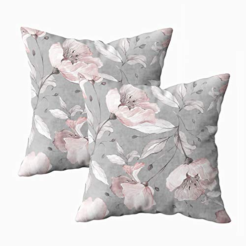 Musesh 18x18 Pillow Cases, Pack of 2 Pattern with Spring Flowers and Leaves Background Floral Fabric Flower Rose Botanic Tile Wallpaper for Sofa Home Decorative Pillowcase Throw Pillow Covers