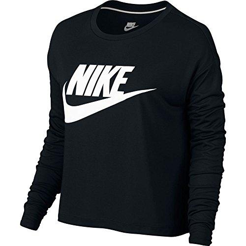 NIKE Women's Sportswear Graphic Long-Sleeve Crop Tee (XL, Black)
