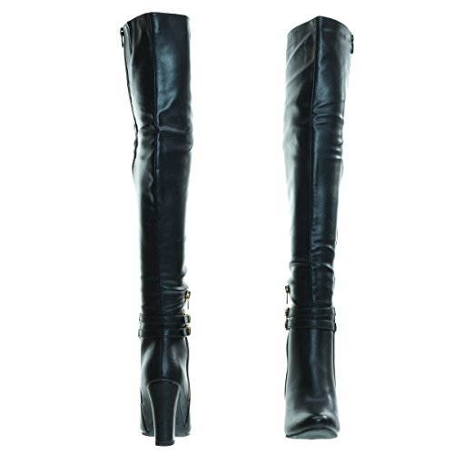 Top Moda Born1 Black Block Heel Over-The-Knee Dress Boots w Double Buckle -7 by Top Moda (Image #4)