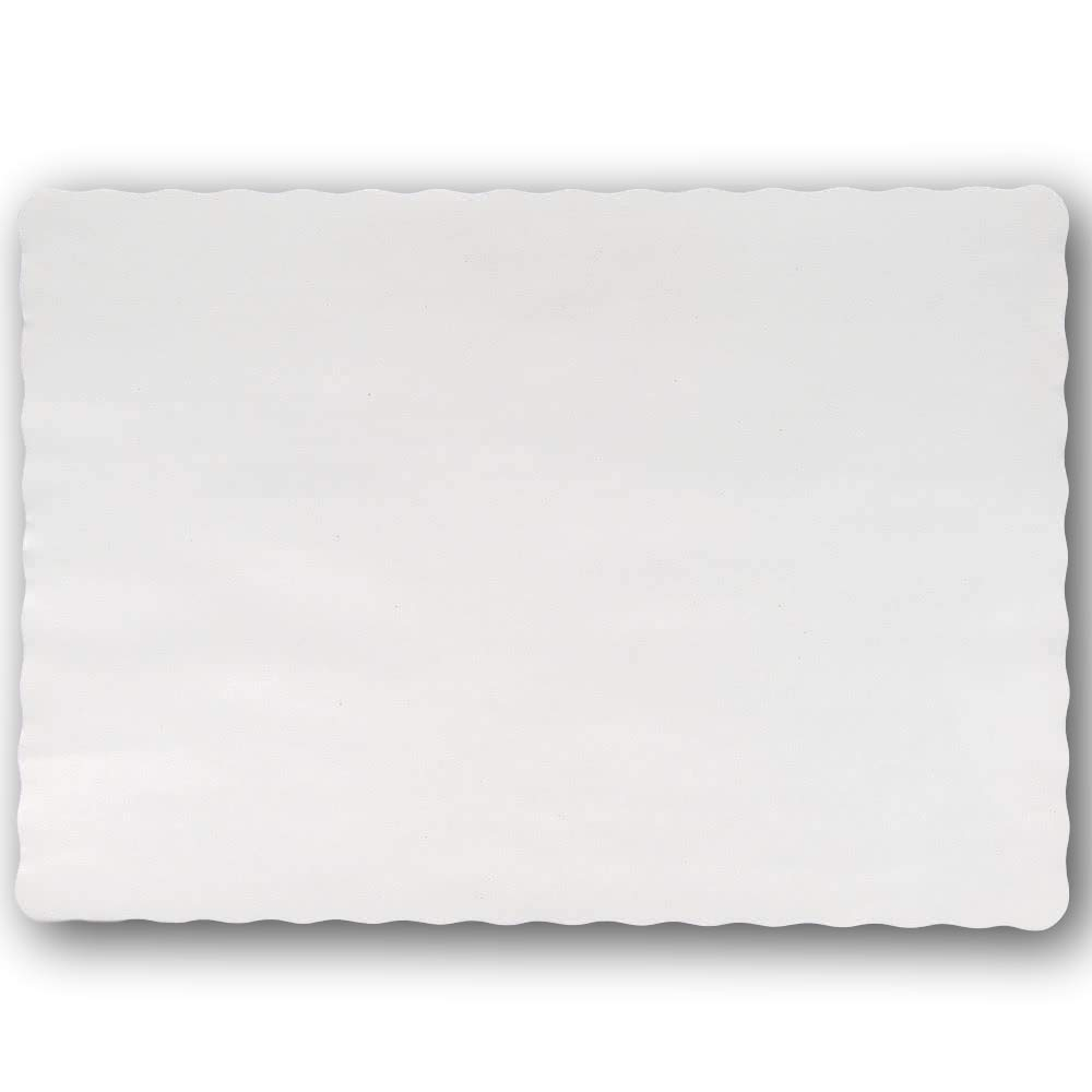 Disposable 14 x 10'' Plain White Paper Placemat with Decorative Wavy Scalloped Edge [200 Pack]