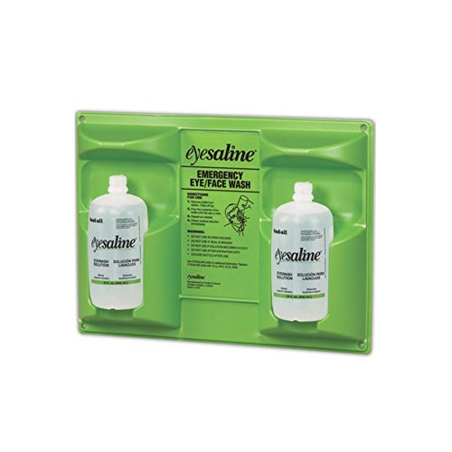 Honeywell 32 oz. (946 ml) Double Bottle Sterile Saline Eye Wash Wall Station (Trilingual, Includes 2 Full Bottles) by Honeywell