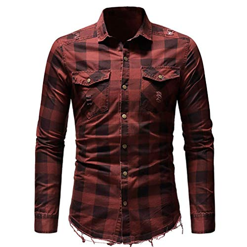 (iZHH Mens Slim Fit Button Plaid Shirt with Pocket Long Sleeve Tops Blouse(Red,L))