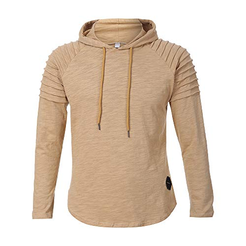 Clearance!Fashion Men's Round Neck Pure Pleats Slim Fit Raglan Long Sleeve Hoodie Top Blouse