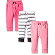 Luvable Friends 3 Pack Tapered Ankle Pants, Girl Black Stripe, 3-6 Months