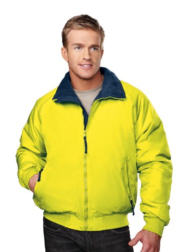 Tri-mountain Nylon 3-season jacket with fleece lining. - LIME GREEN / BLACK - Small