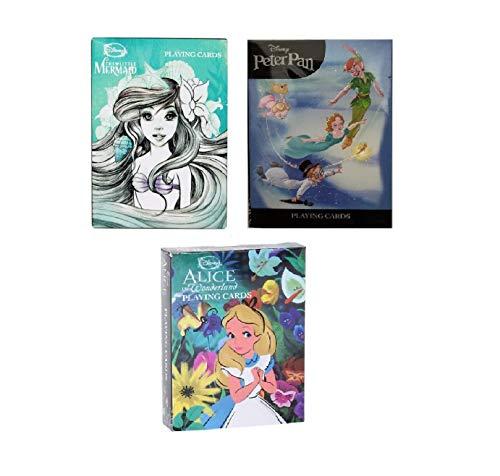 Cardinal Games Disney Playing Cards Collection Little Mermaid, Peter Pan, Alice in Wonderland 3 Decks Bundle