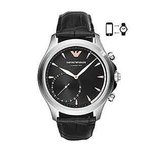 Emporio Armani Black Leather & Stainless Steel Hybrid Smartwatch ART3013